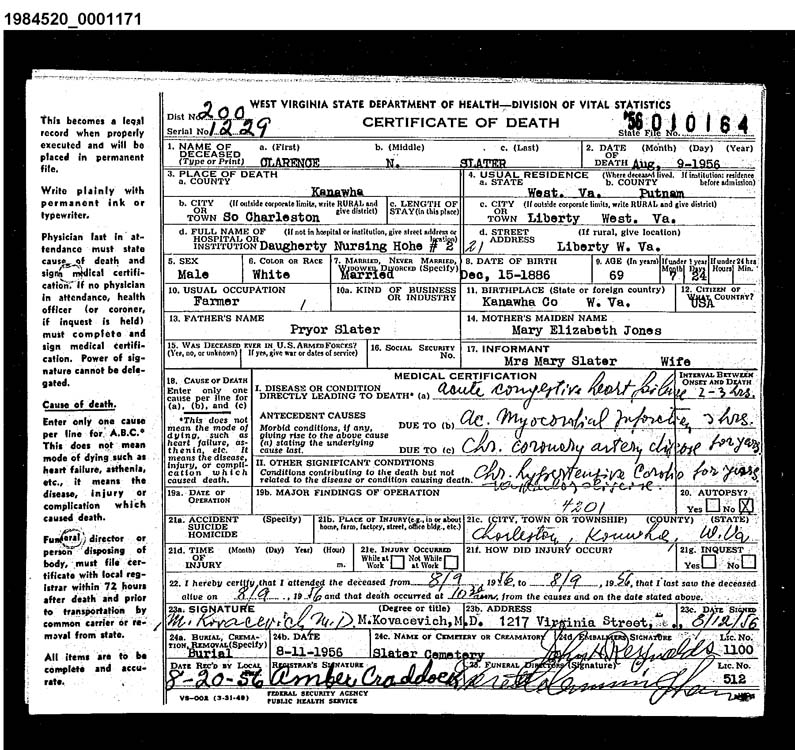 Illinois Divorce Records: West Virginia Cemetery Preservation Association:Slater